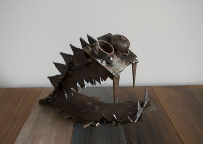 Pesce degli abissi, scultura in ferro